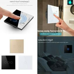 1-3Gang 1/2 Way Crystal Glass Panel LED Light Smart Touch Sc