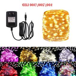 100 200 300 LED Fairy String Lights Silver Christmas Party U