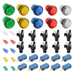 10pcs LED Illuminated Push Buttons Micro Switch for Arcade M