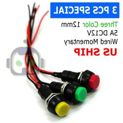 12mm 12V 5Amp Mount Push Button Lockless Momentary ON/OFF Wi