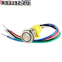 12V Latching Push Button Power Switch Stainless Steel Metal