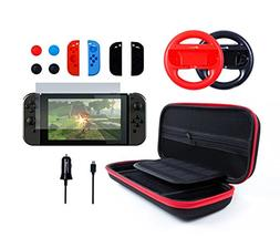 Pegly 13-1 RED Accessories Kit For Nintendo Switch, Includin