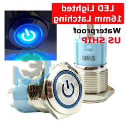 16mm Waterproof Power Push Button Latching Switch w/ 12V Blu