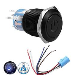 """Quentacy 19mm 3/4"""" Metal Latching Pushbutton Switch 12V Powe"""