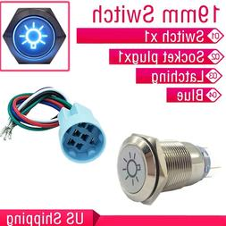 19mm Dome Light Switch BLUE LED Push Button Latching Switch