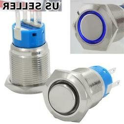 19mm Latching Push Button Power Switch Stainless Steel w/ Bl