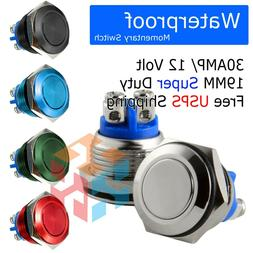 19mm Starter Switch / Boat Horn Momentary Push Button Stainl