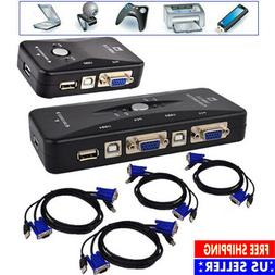 2/4 Port USB 2.0 KVM VGA Switch with 2/4 Set Cable For Mouse