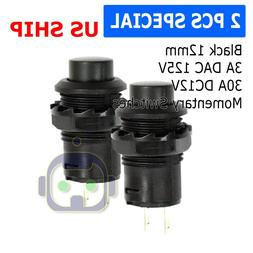 2 Pack SPST Normally Open Momentary Push Button Switch Black