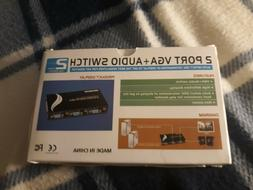 2 Port VGA Audio Video Switch 2x1 Switcher Box 2 IN 1 OUT PC