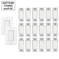 20 Pack Decorator Rocker Switch Single Pole 15A 120 / 277V W