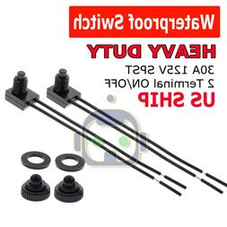 """2pcs 12V 4"""" Wire Leads Waterproof On-Off Push-Button Switch"""