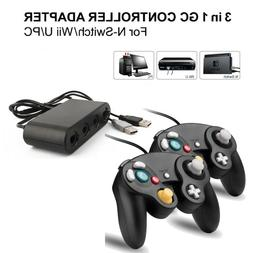 2x Black Wired GC Controller+Adapter for Nintendo Switch Wii