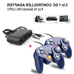 2x Purple Wired GC Controller+Adapter for Nintendo Switch Wi