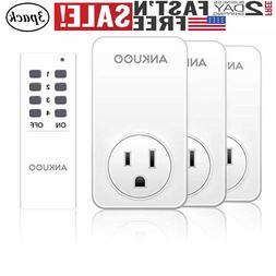 3 Pack Wireless  Remote Control Outlet Light Switch Power Pl