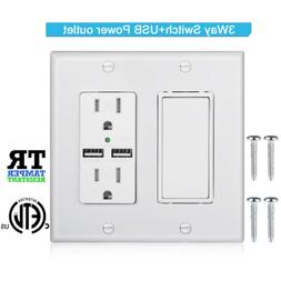 DBillionDa 3-Way Light Switch,USB Outlet Wall Plate3.1A high