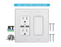 3-Way Light Switch,USB Outlet Wall Plate with Decorator R
