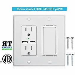 3-Way Light Switch,USB Outlet Wall Plate With Decorator