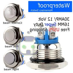 30 AMP METAL MOMENTARY WATERPROOF SWITCH 12V16mm 5/8 HORN ST