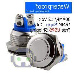 12VOLT METAL WATERPROOF MOMENTARY PUSH SWITCH 30A16mm HORN S