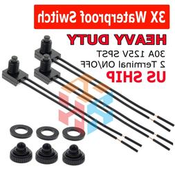 """3pcs 12V 4"""" Wire Leads Waterproof On-Off Push-Button Switch"""
