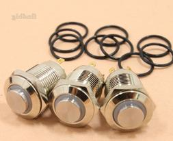 3Pcs LED Metal Momentary Push Button Switch 4Pin 12mm 3V Red