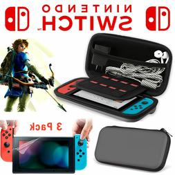 4pc kit Nintendo Switch Travel Carrying Case Bag +3x Clear S
