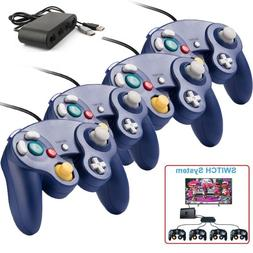 4x Purple Wired GC Controller+Adapter for Nintendo Switch Wi