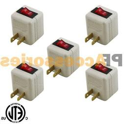 5 Pcs 2 Prong AC Power Wall Tap 1 Outlet w/ ON / OFF Switch