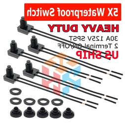 """5pcs 12V 4"""" Wire Leads Waterproof On-Off Push-Button Switch"""