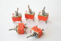 5Pcs AC 250V 15A Amps 4 Pins ON/OFF 2 Position DPST Toggle S