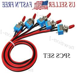 5PCS SPST Mini Toggle Switch Wires On/Off Metal Small Automo