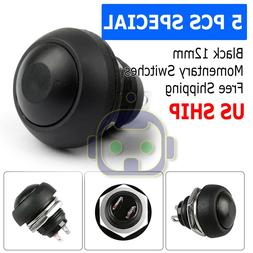 5X Black M4 12mm Waterproof Momentary ON/OFF Push Button Rou