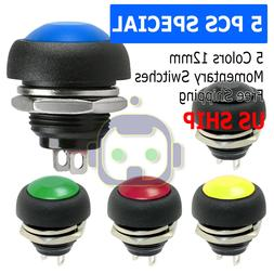 5X Color M4 12mm Waterproof Momentary ON/OFF Push Button Rou
