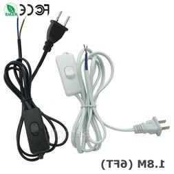 6FT US Plug AC Power Cord Cable Wire with ON OFF Button Swit