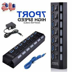 7-Port Powered USB 3.0 Hub On/Off Switches 5Gbps Multi Split