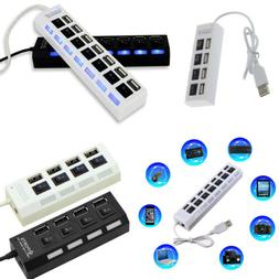 7 Port USB 2.0 Hub 5Gbps High Speed On/Off Switches AC Adapt