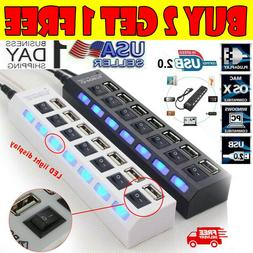 7 Port USB 2.0 Hub with High Speed Adapter ON/OFF Switch for