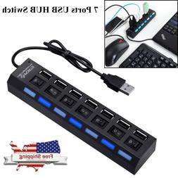 7-Port USB 2.0 Multi Charger Hub High Speed Adapter ON/OFF S