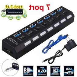 7 Port USB 3.0 HUB With Power On/Off Switch High Speed Adapt