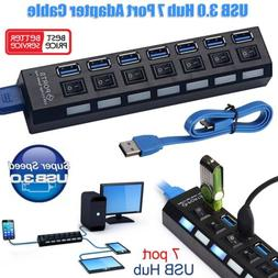7 Port USB 3.0 Ports Hub with On/Off Switch +AC Power Adapte