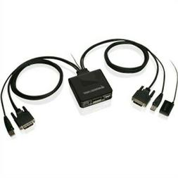 IOGEAR 2-Port USB DVI Cable KVM Switch with Cables and Remot