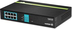 TRENDnet 8-Port Gigabit GREENnet PoE+ Switch Rack Mountable,
