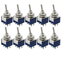yueton 10 Pcs AC 125V 6A Amps ON/ON 6 Terminals 2 Position D