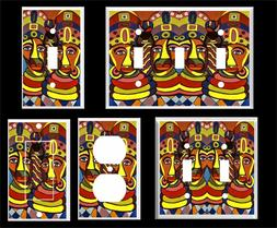 AFRICAN COLORFUL FACES LIGHT SWITCH COVER PLATE