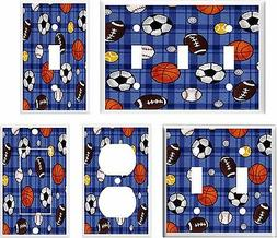 ALL SPORTS FOOTBALL BASEBALL SCOCCER LIGHT SWITCH COVER PLAT