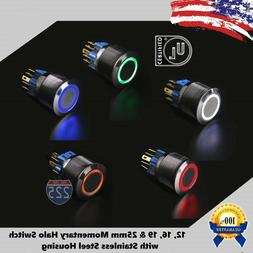 Angel Eye LED Momentary Stainless Steel Push Button Panel Mo