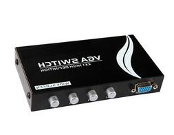 4x1 or 1x4 Bi-Directional 4 Port VGA SVGA HD15 Video Switch