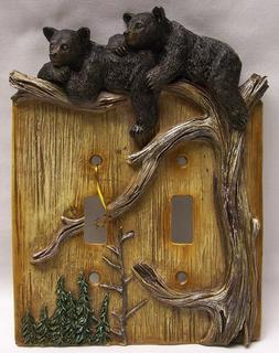 Black Bear Cubs Double Light Switch Plate Cover Rustic Cabin