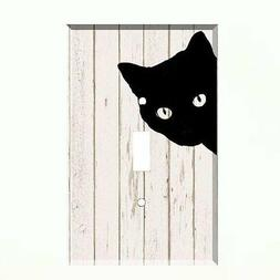 Black Cat Light Switch Plate Wall Cover Pet Decor Distressed
